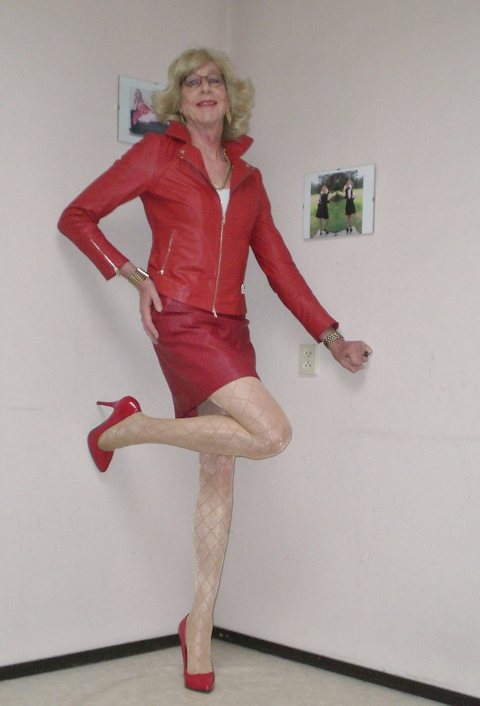 96c649189d0 Red leather outfit. (sabine57) Tags  crossdressing transvestism crossdress  crossdresser cd tgirl tranny
