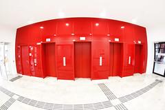 Red Doors (CoolMcFlash) Tags: red doors entry door indoor room canon eos 60d sigma 10mm fisheye rot türe raum fischauge vienna austria architecture architektur fotografie photography highkey modern spiegelung reflection clear