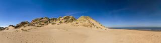 fine art panorama, high sand dune & sea, Newburgh beach, Ythan estuary, Aberdeenshire, Scotland