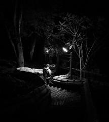 Down the cat walk (ajecaldwell11) Tags: lights path laos mount luangprabang down steps blackandwhite phousi xe2 fujifilm wakway caldwell ankh