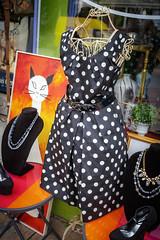 Polka-pretty (Karol A Olson) Tags: dress polkadots cat storefront hampden baltimore maryland sep17