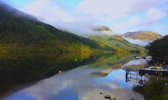 Loch Eck - Another Reflection from a different viewpoint. (wontolla1 (Septuagenarian)) Tags: scotland scottish loch reflection reflections eck trossocks hills mountains 1000views 100faves cloud