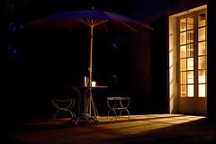 summer evening (S amo) Tags: evening soir été summer night nuit vacances holidays candle bougie antimoustique bugrepellent parasol terrasse porte lumière éclairage door light terrace lighting