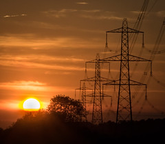 Electric Sunset (Brian Negus) Tags: silhouette tree riversoar cable leicestershire sunrays pylon sunset powerlines normantononsoar england unitedkingdom gb redsky goldenhour