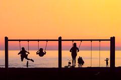 afterglow (JimfromCanada) Tags: child children swing play sunset water lake silhouette huron saugeen portelgin ontario summer fun afterglow henryscamera henrysbts