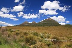 near Derwent Bridge, landscape (blauepics) Tags: australia australien tasmania tasmanien tassie landscape landschaft hills hügel clouds wolken field feld gras brown blue braun blau