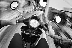 Keep calm and drive Vespa!! (fil.nove) Tags: vespa scooter piaggio canon60d samyang8mm samyangfisheye 8mmfisheye pov pointofview strada street vanishingpoint motionblur motion drive gita velocità speed actionphoto action goingonavespa vintage puntodifuga bike rider vespista blackandwhite biancoenero firstperson ontheroad