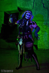 black magic pt2 01 (CE Photogenetix) Tags: approved blackmagic witch voodoo voodoopriestess evil dark horror death spooky scary darkart costume halloween portrait canon40d christinaedwards griffithpark green blue lightpainting colorful colors head shrunkenhead light fur skull demon demonic monster villian skeleton gloves creepy