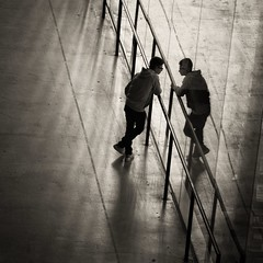 know thyself (donvucl) Tags: london tatemodern figure reflection reflections bw blackandwhite monochrome squareformat composition olympusem1 lightandshade donvucl