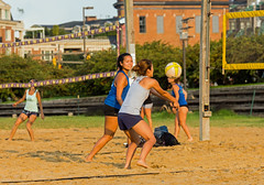 2017-08-21 BBV Women's Doubles (2) (cmfgu) Tags: craigfildespixelscom craigfildesfineartamericacom baltimore beach volleyball bbv md maryland innerharbor rashfield sand sports court net ball outdoor league athlete athletics sweat tan game match people play player doubles twos 2s women woman