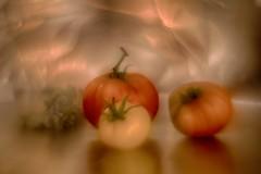 IMG_9604---hélios-44-2-lentille-inversée---tomates-web (Monique J.) Tags: bokehtournant swirlybokeh hélios442 lentilleinversée naturemorte tomates