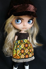 Brown Carnaby Cap with whimsical dress