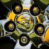 Wheely reflective Ram (kimbenson45) Tags: dodgechallengerrtclassic hemi ram car circles classiccar closeup colorful colourful differentialfocus emblem metal metallic nuts ponycar reflected reflection round shallowdepthoffield silver wheel yellow