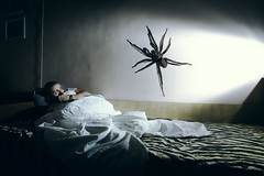 Phobia (Ekaterina Toseva) Tags: experimental creative photoshop photomanipulation manipulation composite nikon d7000 sb700 speedlight tokina1116 flash light beam color colorcast bed girl scared fear phobia terror big giant spider battle inner illness depression raise awareness stop stigma mental health condition staystrong artistic cinematic cold autoportrait selfportrait portrait female art