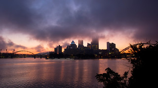 Pre-dawn fog over the city