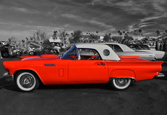 Orange is the New Black (oybay©) Tags: suncitywest arizona az tags shiny oldcar old reflection mirror modified coolcar heavymetal white twotone chrome lotsofchrome carshow glendale glendalearizona mixteca classic classiccar sunset sunlight color colors colorful vehicle lines ford fordthunderbird thunderbird tbird bird fordmotorcompany rusty crusty car dvap desertvalleyautoparts desert valley auto parts blue bleu bluebird koolklassicscarshow suncity mcdonalds yellow outdoor barrettjackson scottsdale silver taillight macro upclose angle wheel rim tire