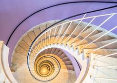 Inside Barbie's Villa (katrin glaesmann) Tags: münchen munich notripod handheld stairs staircase lookingup lights spiralstaircase caféglockenspiel