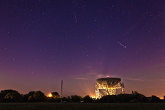 Perseids over Jodrell Bank (Explored) (Sandy Sharples) Tags: perseids meteor storm night nightscape nightsky stars jodrell lovell telescope cheshire england august summer