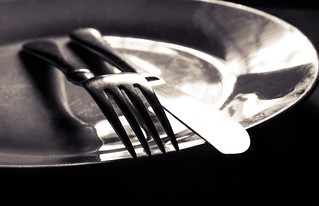 Plate with a Knife and fork on top