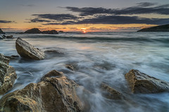 'Swtan Sundown Surf' - Porth Swtan, Anglesey (Kristofer Williams) Tags: sea water seascape rock coast beach sunset waves porthswtan churchbay anglesey le longexposure wales