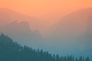 Wildfire Haze. Yosemite National Park, USA