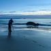Rocky Daybreak Seascape with Photographer