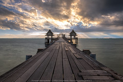 In the Sunset (KRW_GNS) Tags: background bay bridge cloud curve day exposure harbor horizon landscape light nature pavilion pier port relaxation resort scene sea seascape sky sun sunset thailand travel twilight water wood wooden