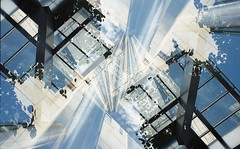 Interflora. (von8itchfisk) Tags: film ishootfilm 35mm lomography doubleexposure olympus om10 analogue analog filmisnotdead canary wharf architecture buildings isle dogs vonbitchfisk london