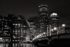 Night view of Boston (ronperry811) Tags: night dark boston seascape cityscape bw blackwhite monotone downtown water reflections