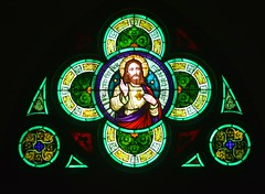 Stained Glass Window #2 Church of the Sacred Heart (rabidscottsman) Tags: scotthendersonphotography window stainedglasswindow stainedglass saturday weekend christ christian christianity religion art christianart holy green mn minnesota freeportminnesota artistic jesus nikon nikond7100 d7100 tamron tamron18270 18270 colors colorful socialmedia usa unitedstatesofamerica circle design geometry triangles