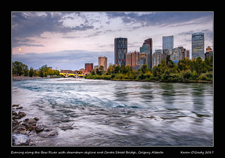 Evening along the Bow River with downtown skyline and Centre Street Bridge, Calgary Alberta [EXPLORED]