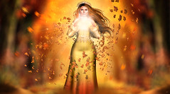 Queen of Autumn (meriluu17) Tags: ersch goddess queen autumn fall leaves leave air windy wind peple outdoor people orange red warm light lights fantasy fairy fae magical orb