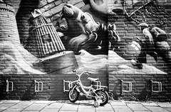 on the wild side (chipsmitmayo) Tags: leica mini zoom ilford fp4 plus schwarzweiss blackandwhite film analog labor vlissingen nederlands niederlande zeeland wand wall graffiti fahrrad bike bicycle fiets velo leeze kind ständer mural parken