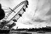 London wheel (Maerten Prins) Tags: england brittain londen london ferriswheel eye blackandwhite wideangle distortedimage river thames boat sky clouds