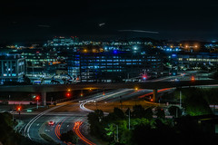 oyster point exchange ll (pbo31) Tags: bayarea california nikon d810 color september summer 2017 boury pbo31 night black dark over sanmateocounty oysterpoint southsanfrancisco lightstream motion traffic overpass ramp 101 highway roadway construction sfo airport