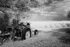 ready for work (Mr. Greenjeans) Tags: fauxinfrared tractor farm fields louisiana bw blackandwhite laurelvalleyplantation rural