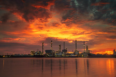 Oil refinery factory (anekphoto) Tags: refinery oil night factory plant industry gas petrochemical engineering technology petroleum industrial chemical metal environment energy tower chemistry smoke pollution steam production chimney pipeline construction power fuel sky sunset business light manufacturing distillation stack auto tube pipe tank gasoline petrol pollute smokestack refine saudi blue iran dark economy storage structure
