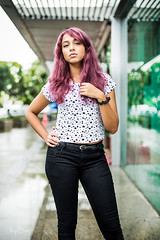 Michelle [Stranger #53/100] (Vijay Britto Photography) Tags: attitude pink hair 100strangers younggirl mumbai indian pose 50mm nikon d750 outdoors naturallight