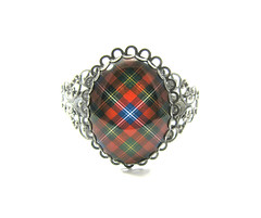 "Ancient Romance Series - Scottish and Irish Tartans Collection - Forrester Clan Tartan 40x30mm Filigree Split Cuff Bracelet 7"" Antique Pewter Finish"