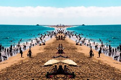 Parallel Piers (amarilloladi) Tags: hss sliderssunday piers shore shoreline sand beach sunlight sun midday ocean balboapier california newportbeach