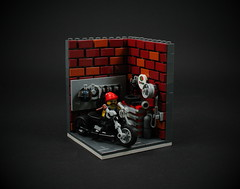 04 - Motorcycle Mechanic (CeciΙie) Tags: lego moc motorcycle mechanic vig vignette minifig garage