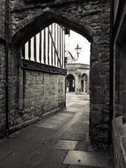 A step back in time (KelJB) Tags: paving archway dorset sherborne monochrome blackwhite architecture history england