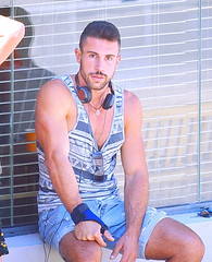 Tank Tops (Alan46) Tags: hunk stud handsome sexy muscular muscles masculine pecs torso unshaved scruffy beard hunky beefy buffed brawny ballsy bitchin built boardwalk tanktop man guy guapo macho telaviv israel