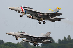 BULLET 11 (Kaiserjp) Tags: 166800 166804 bullet11 bullet12 f18 fa18f naslemoore ne100 ne107 usn vfa2 fighter jet hornet superhornet seattle wa bfi kbfi boeingfield takeoff section formation departure pair military navy attack colorful special colorbird