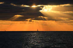 Sailing at sunset - Tel-Aviv beach (Lior. L) Tags: sailingatsunsettelavivbeach sailing sunset telaviv beach sailboat sun clouds cloudysunset sea seascapes rays raysofsunshine telavivbeach israel silhouettes nature travel travelinisrael