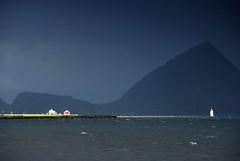 Hogsteinen Fyr (DoctorMP) Tags: norwegia norway norge moreogromsdal altlantic ocean alesund godoya architecture houses lighthouse island hogsteinen fyr mountains latarniamorska
