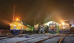 Fog & Lights (GLC 392) Tags: cnw chicago northwestern railroad railway train ge c449w alco rsd5 emd sd402 union il twilight irm illinois museum fog smoke 411 4160 1689 6847 8646 commuter passenger bi level gp9 f7