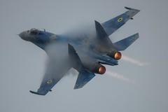 Sukhoi - Su-27 Flanker 058 - Ukraine (Pete Hemsley) Tags: sukhoi riat airtattoo fairford russian aircraft jet burner cloud rain ukraine su27