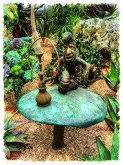 Come Share My Hookah (Steve Taylor (Photography)) Tags: hookah mushroom toadstool caterpillar buttons pipe tube bronze art sculpture insect butterfly metal asia singapore border succulent stone rock plant gardensbythebay flowerdome larvae