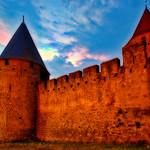 Coucher de soleil sur les fortifications de Carcassonne. thumbnail